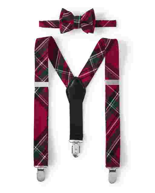 Boys Plaid Bow Tie And Suspenders Set - Picture Perfect
