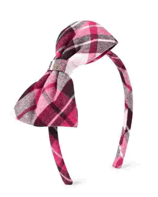 Girls Plaid Bow Headband - Winter Wonderland