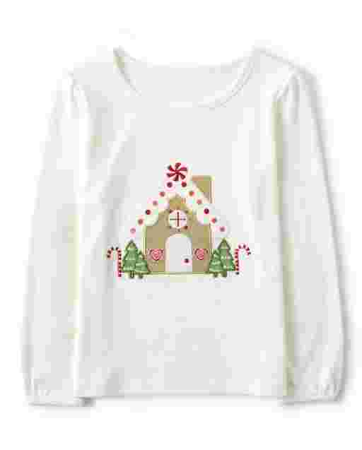 Girls Long Sleeve Embroidered Gingerbread House Top - Winter Wonderland