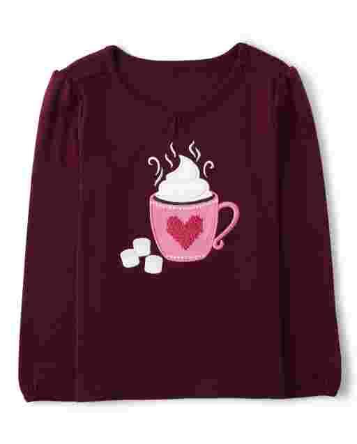 Girls Long Sleeve Embroidered Hot Chocolate Top - Winter Wonderland