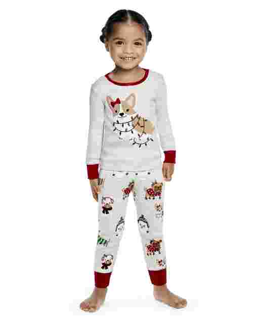 Girls Long Sleeve Holiday Dog Snug Fit Cotton 2-Piece Pajamas - Gymmies