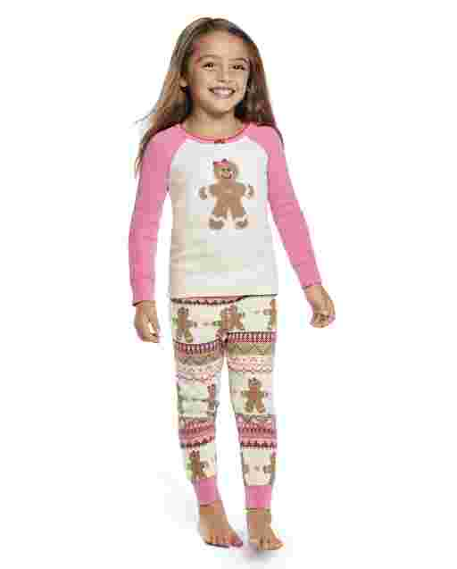 Girls Long Sleeve Gingerbread Snug Fit Cotton 2-Piece Pajamas - Gymmies