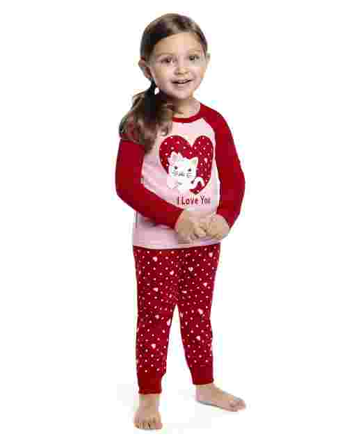 Girls Long Sleeve Valentine's Cutie Snug Fit Cotton 2-Piece Pajamas - Gymmies