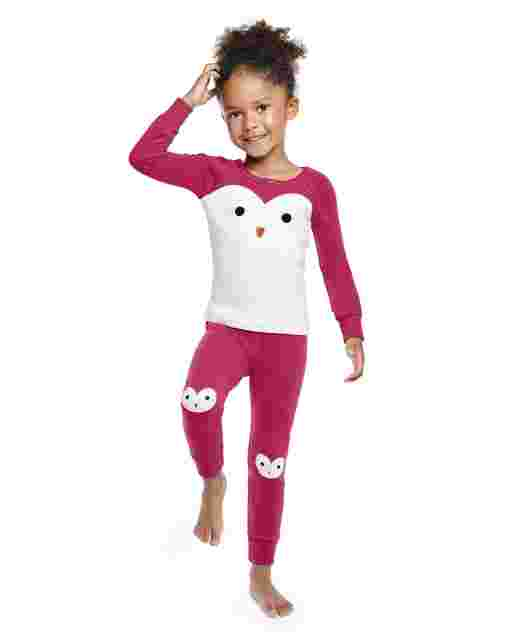 Girls Long Sleeve Penguin Snug Fit Cotton 2-Piece Pajamas - Gymmies