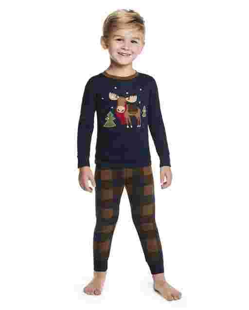 Boys Long Sleeve Moose Snug Fit Cotton 2-Piece Pajamas - Gymmies
