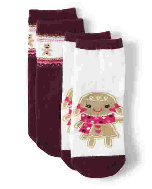 Girls Gingerbread Socks 2-Pack - Winter Wonderland