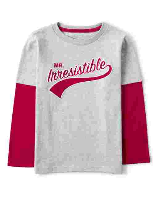 Boys Long Sleeve Embroidered 'Mr. Irresistible' 2 In 1 Top - Valentine Cutie