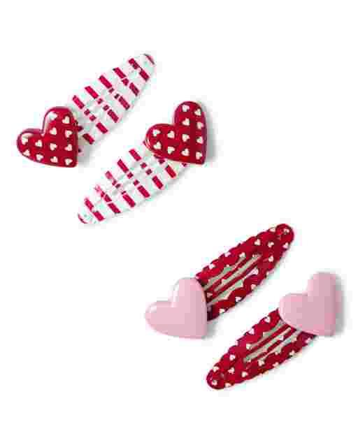 Girls Heart Hair Clips 4-Pack - Valentine Cutie