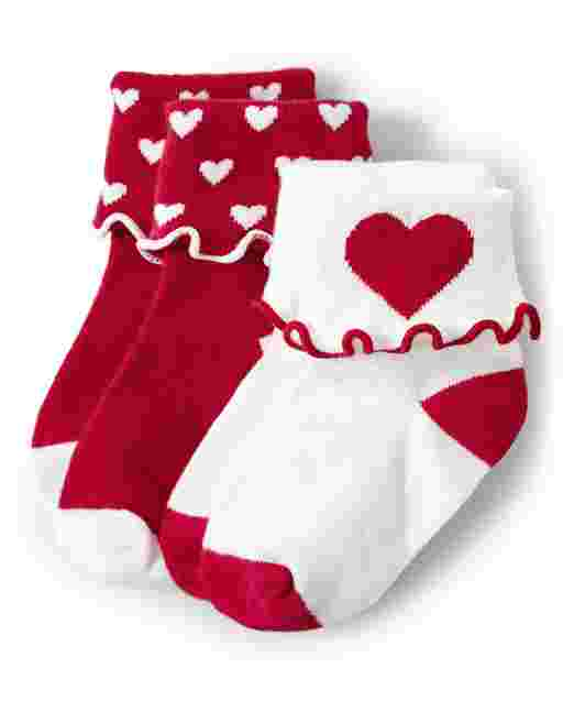 Girls Heart Turn Cuff Socks 2-Pack - Valentine Cutie