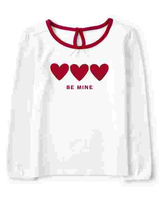 Girls Long Sleeve Embroidered Heart 'Be Mine' Top - Valentine Cutie