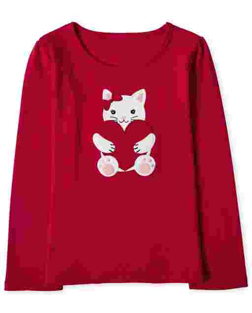 Girls Long Sleeve Embroidered Cat Top - Valentine Cutie