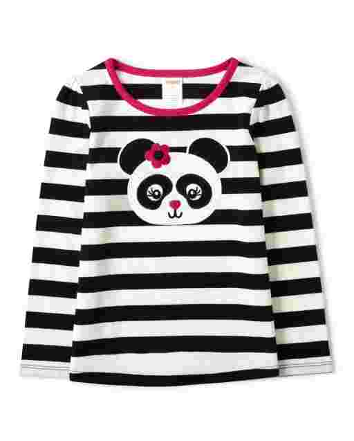 Girls Long Sleeve Embroidered Panda Striped Top - Panda Party
