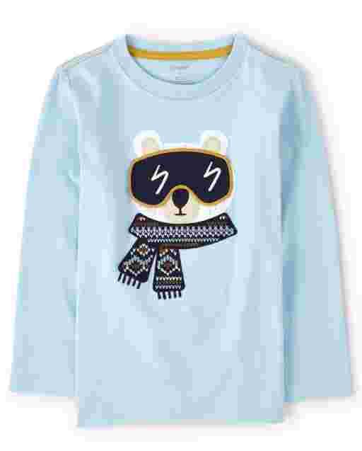 Boys Long Sleeve Peek-A-Boo Flap Art Embroidered Polar Bear Top - Aspen Lodge