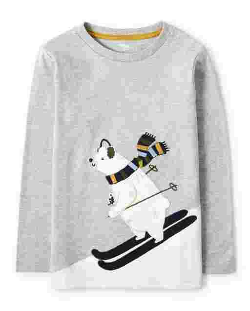 Boys Long Sleeve Embroidered Skiing Polar Bear Top - Aspen Lodge