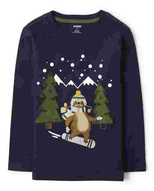 Boys Long Sleeve Embroidered Snowboarding Sloth Top - Aspen Lodge