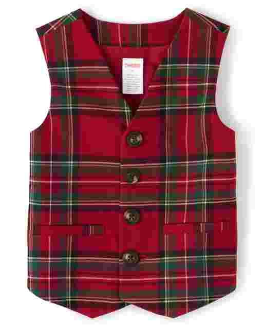 Boys Sleeveless Plaid Suit Vest - Picture Perfect