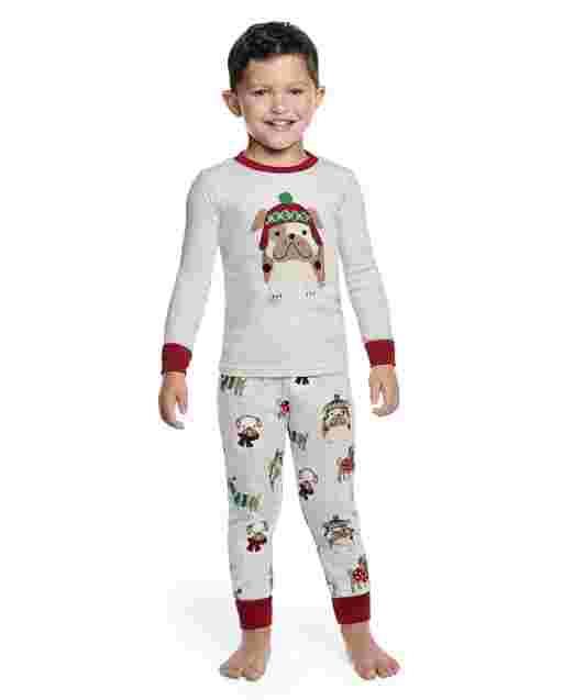 Boys Long Sleeve Holiday Dog Snug Fit Cotton 2-Piece Pajamas - Gymmies