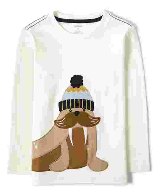 Boys Long Sleeve Embroidered Walrus Top - Aspen Lodge