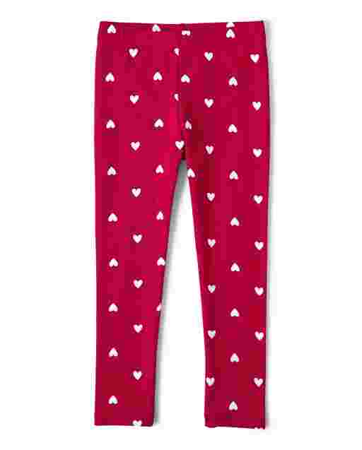 Girls Heart Print Knit Leggings - Valentine Cutie