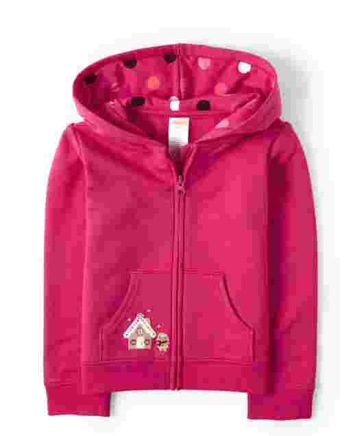Girls Long Sleeve Embroidered Gingerbread Fleece Zip Up Hoodie - Winter Wonderland