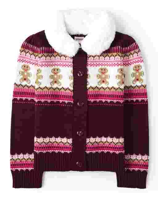 Girls Long Sleeve Faux Fur Collar Gingerbread Fairisle Cardigan - Winter Wonderland