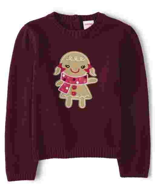 Girls Long Sleeve Applique Gingerbread Sweater - Winter Wonderland