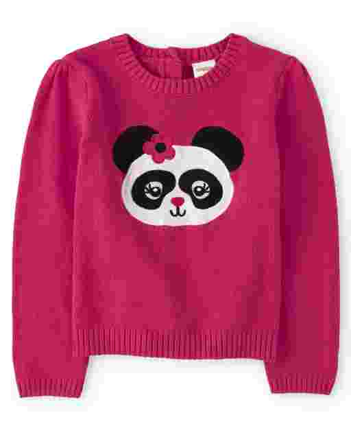 Girls Long Sleeve Intarsia Panda Sweater - Panda Party