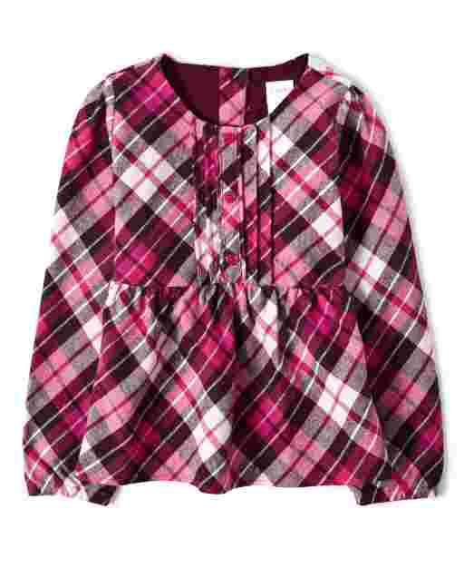 Girls Long Sleeve Plaid Flannel Peasant Top - Winter Wonderland