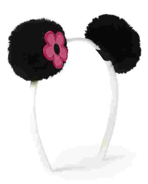 Girls Faux Fur Pom Pom Headband - Panda Party
