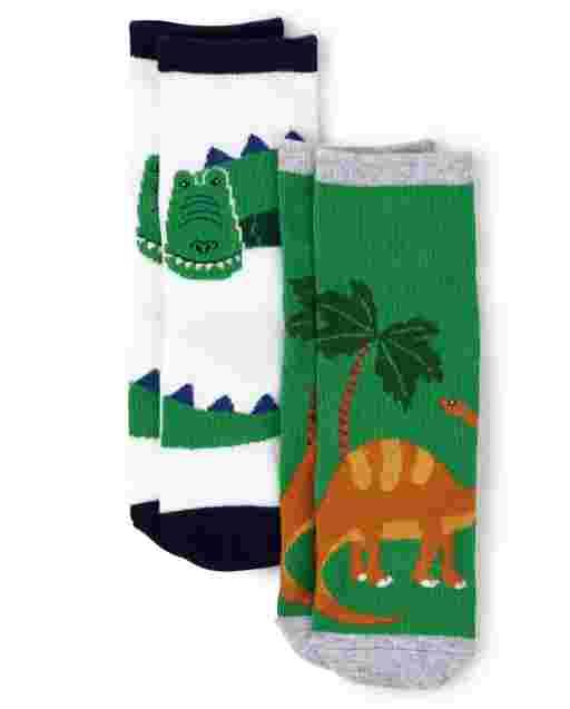 Boys Dino Crew Socks 2-Pack - Dino Roar