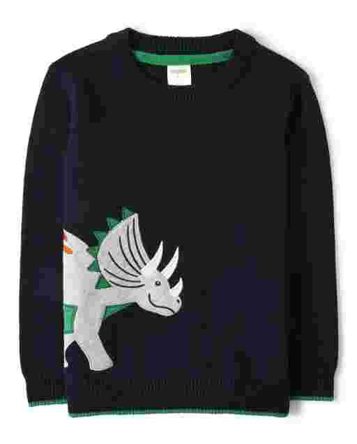 Boys Long Sleeve Intarsia Triceratops Sweater - Dino Roar