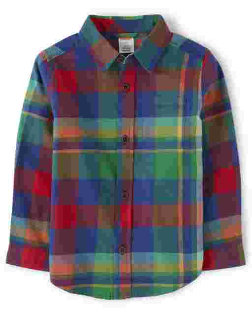 Boys Long Sleeve Plaid Twill Button Up Shirt - Dino Roar