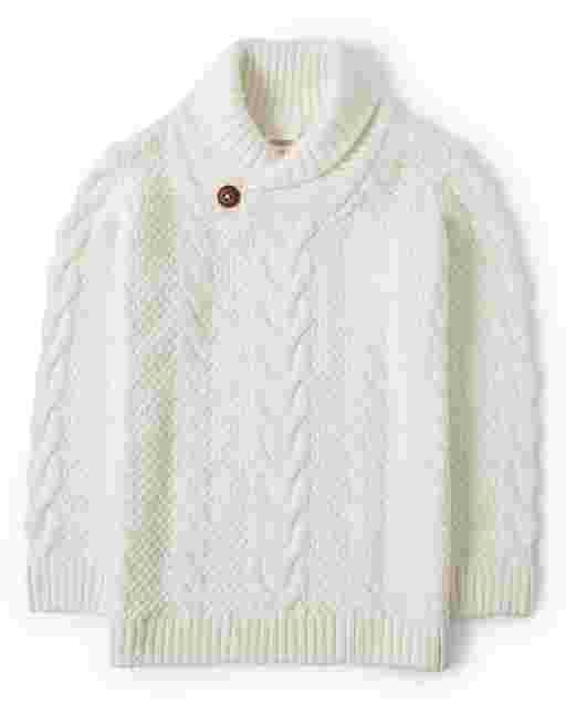 Suéter de manga larga con cuello chal tejido trenzado para niños - Imagen perfecta