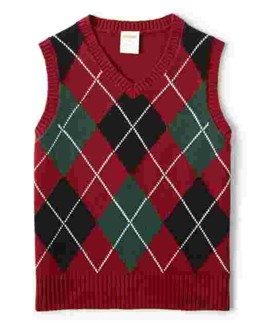 Boys Sleeveless Argyle Sweater Vest - Picture Perfect