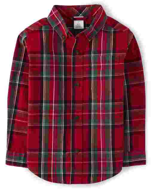 Boys Long Sleeve Plaid Poplin Button Up Shirt - Picture Perfect