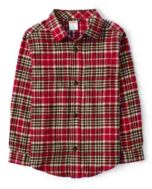 Boys Long Sleeve Plaid Twill Button Up Shirt - Moose Mountain