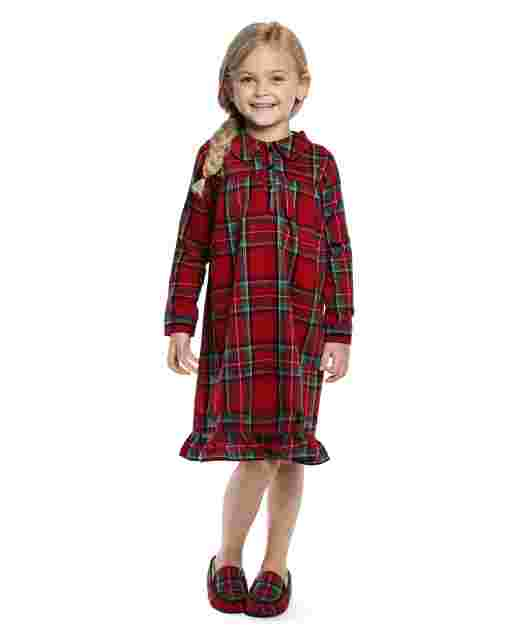 Girls Long Sleeve Plaid Flannel Nightgown - Gymmies