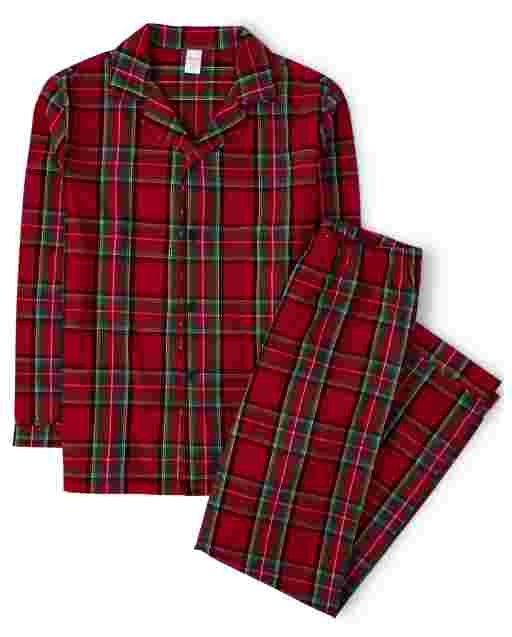 Unisex Adult Matching Family Long Sleeve Plaid Flannel 2-Piece Pajamas  Gymmies