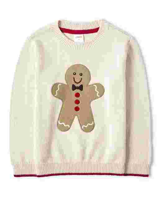 Boys Long Sleeve Embroidered Gingerbread Sweater - Moose Mountain