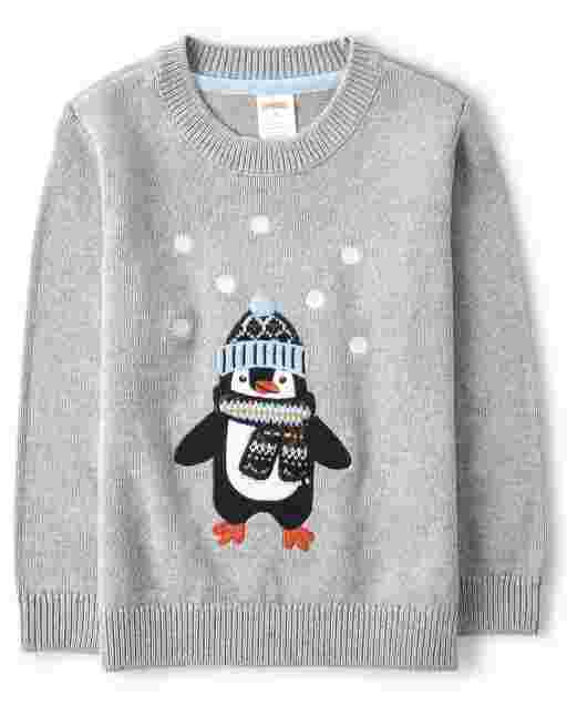 Boys Long Sleeve Embroidered Penguin Sweater - Aspen Lodge