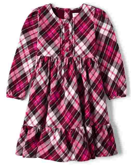 Girls Long Sleeve Plaid Flannel Peasant Dress - Winter Wonderland