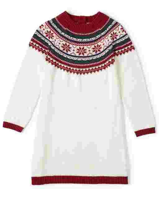 Girls Long Sleeve Snowflake Fairisle Sweater Dress - Picture Perfect
