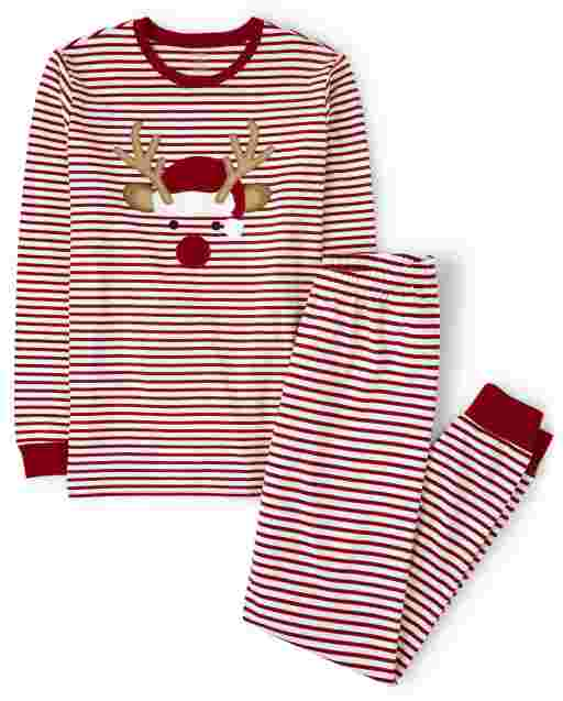 Unisex Adult Matching Family Long Sleeve Reindeer Cotton 2-Piece Pajamas - Gymmies
