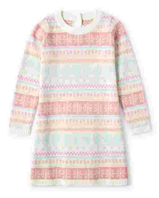 Girls Long Sleeve Snowflake Fairisle Sweater Dress - Snow Princess