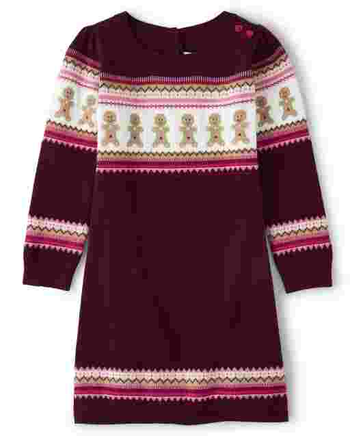 Girls Long Sleeve Gingerbread Fairisle Sweater Dress - Winter Wonderland