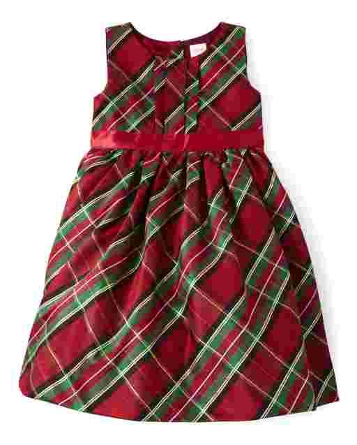 Girls Sleeveless Tartan Plaid Woven Dress - Picture Perfect