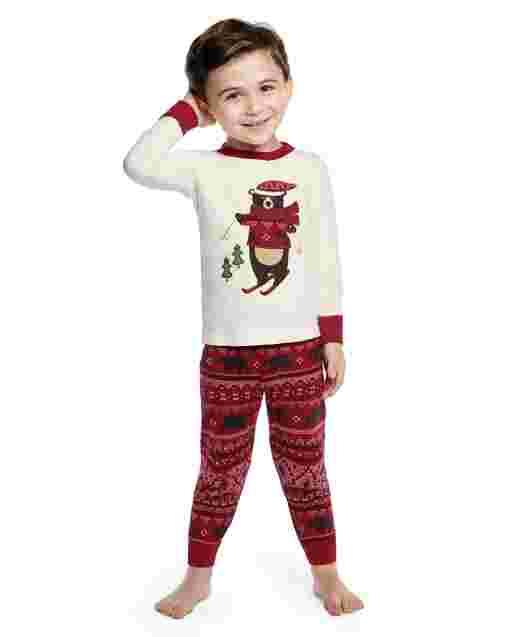 Pijama de 2 piezas de algodón con ajuste ceñido de oso de manga larga para niños - Gymmies