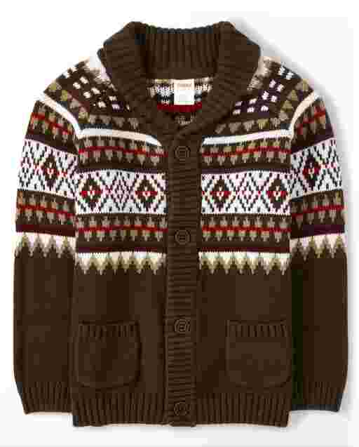Boys Long Sleeve Fairisle Cardigan - Moose Mountain