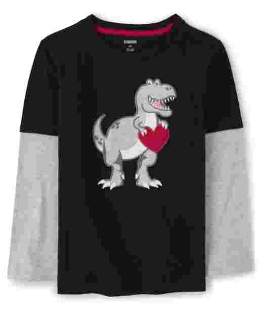 Boys Long Sleeve Embroidered Dino 2 In 1 Top - Valentine Cutie