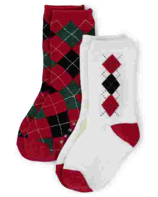 Boys Argyle Crew Socks 2-Pack - Picture Perfect